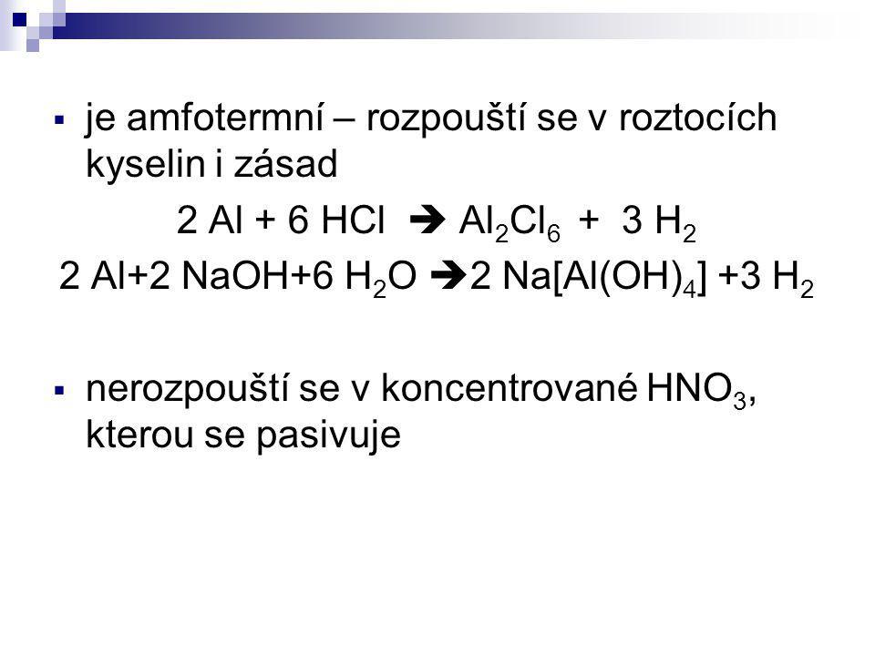 2 Al+2 NaOH+6 H2O 2 Na[Al(OH)4] +3 H2